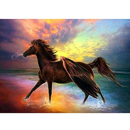 Diamond painting kits for kids,5D DIY Diamond Painting by Number Kits for Home Decor Horse 15.7x11.8 in By Jestang