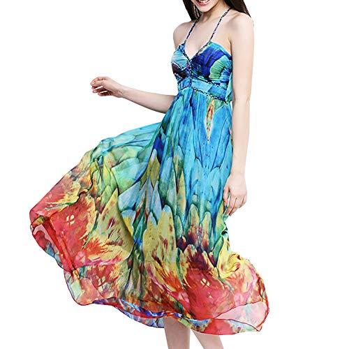 DISSA SB68015 Damen Trägerlos Ohne Arm Seidenkleid Swing Seiden Kleid,Blau,S
