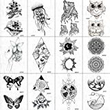 12 Piezas Negro Falso Tatuaje Pegatinas Hombres Diamante Universo Sol Tatuajes Temporales Tribales Indios Tatuajes De Flores Impermeables Niños Lindo Arte