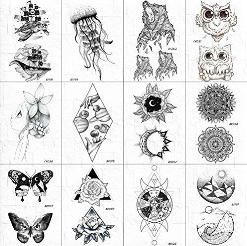 12 Pcs Noir Faux Tatouage Autocollants Hommes Diamant Univers Soleil Tatouages Temporaire Tribal Indien Fleur Tatouages Étanche Enfants Mignon Art