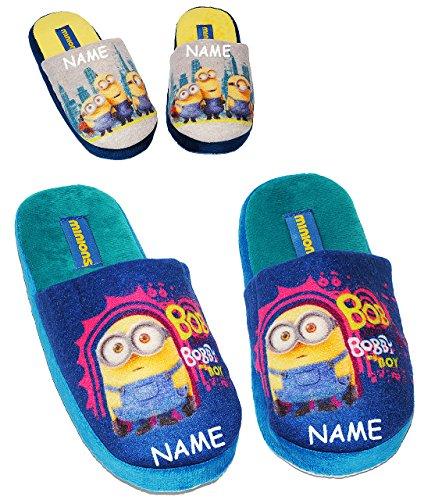 alles-meine.de GmbH Pantoffeln/ Hausschuhe - Gr. 33 - 34 - Minions -  Ich einfach unverbesserlich  - incl. Name - rutschfeste Schuhe Schuh / Hausschuh mit Profilsohle - für Kin..