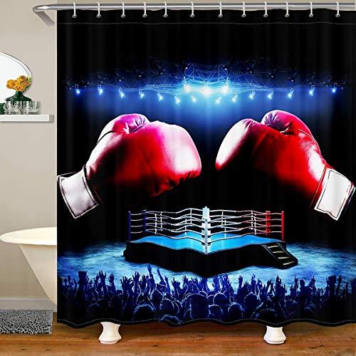 Loussiesd Cortina de ducha con guantes de boxeo, cortina de baño, para puestos, bañeras, boxeo, partido, baño, cortina de ducha, transpirable, rojo, azul, impermeable, 180 x 200 cm