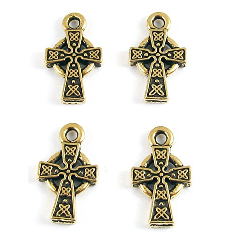 TierraCast Pewter Charms-Gold Small Celtic Cross (4)