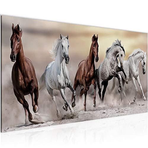 Wandbilder Pferde Modern Vlies Leinwand Wohnzimmer Flur Tiere Braun 014112a