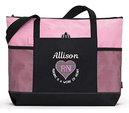 Nursing is a Work of Heart Personalized Embroidered Nurse, CNA, RN, LPN Tote Bag