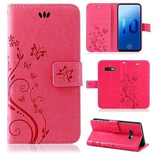 betterfon   Flower Case Handytasche Schutzhülle Blumen Klapptasche Handyhülle Handy Schale für Samsung Galaxy S10e SM-G970 Pink