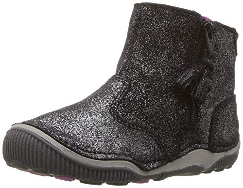 Stride Rite Zoe Toddler Girl's Lightweight Leather Boot Ankle, black sparkle, 8 M US Toddler