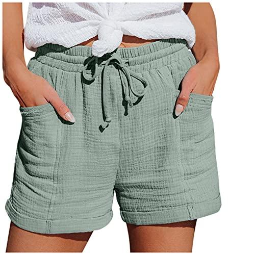 Mujeres de Moda Pantalón Deporte de Algodon con Cordón y Bolsillos Rolled Short Pantalones Cortos de Color Puro Cómodos Elástica Pantalones Verano Mujer Casual para Yoga Gimnasio Fitness