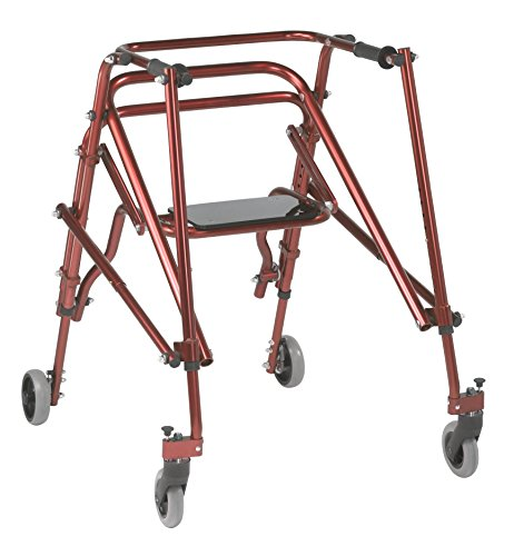 Inspired by Drive Nimbo 2G Lightweight Posterior Walker with Seat, Castle Red, Large