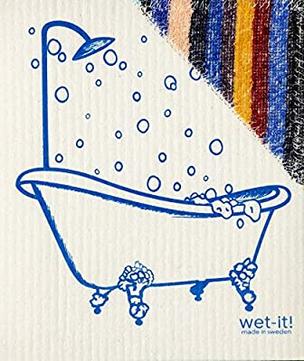 Wet N Scrub New Swedish Dishcloth with Scrubby Non-Scratching Scouring Pad Combined (Carrots)