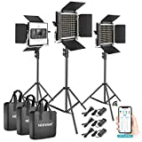 Neewer 3 Packs 528 LED Video Light, Metal Dimmable Bi-Color 3200K-5600K Photography Lighting Kit with APP Intelligent Control System/LCD Screen/and Light Stand for Studio Outdoor Video Lighting