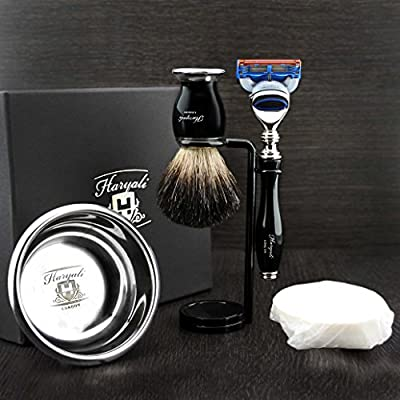 Haryali London 5 Pc Mens Shaving Kit 5 Edge Safety Razor With Black Badger Hair Shaving Brush, Stand, Soap and Bowl Perfect Set For Men