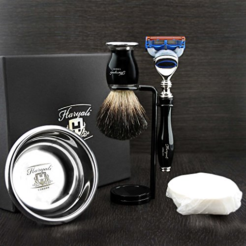 Haryali London 5 Pc Mens Shaving Kit 5 Edge Razor With Black Badger Hair Shaving Brush, Stand, Soap and Stainless Steel Bowl Perfect Set For Men