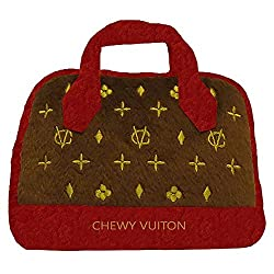 Chewy Vuiton Plush dog toy designer purse with red handles and trim.