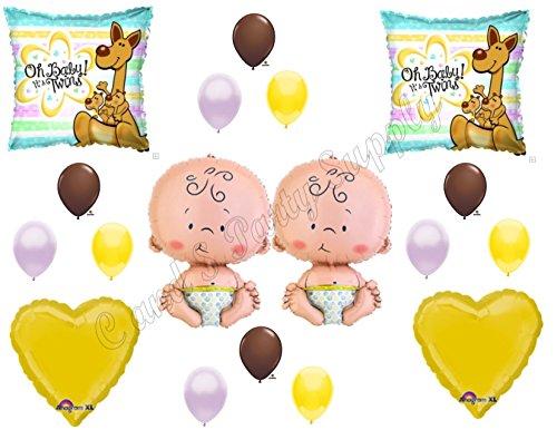 TWINS KANGAROOS BABY SHOWER Balloons Decoration Supplies It's a boy girl Newborn