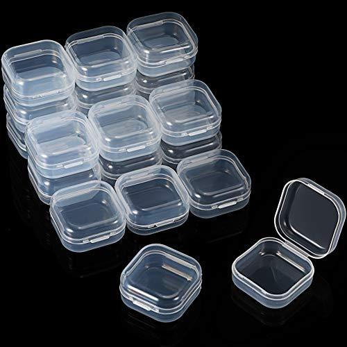 Jetec 36 Contenitori Rettangolari in Plastica Trasparente Contenitori Scatola di Stoccaggio Perline Custodia di Gioielli con Coperchio a Cerniera per Piccoli Oggetti (1,3 x 1,3 x 0,7 Pollici)