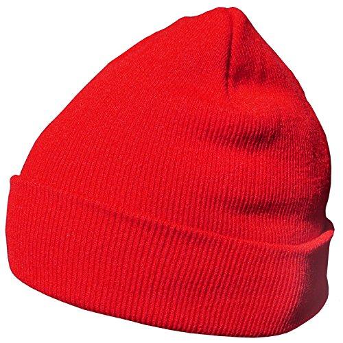 DonDon Wintermütze Mütze warm klassisches Design modern und weich rot