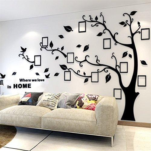 Wandtattoo Baum 3D DIY Wandaufkleber Sticker mit Bilderrahmen Foto Baum Wandsticker Wanddeko Deko für Hause Kinderzimmer Wohnzimmer Schlafzimmer(M: 150 * 210CM,Schwarz Links)