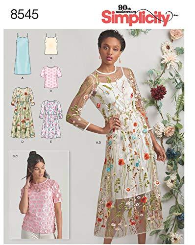 Simplicity Schnittmuster 7041.D5, Kleid & Unterkleid [Damen, Gr.30-38], selber nähen, geeignet für Fortgeschrittene [L3]