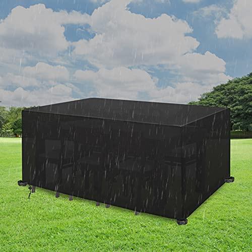 Yeemoutylo Gartenmöbel-Abdeckungen, Outdoor-Möbelabdeckung, wasserdicht, Winddicht, 420D, strapazierfähiges Oxford-Gewebe, UV-Schutz, Terrassentischabdeckung für Terrasse, Outdoor (242)