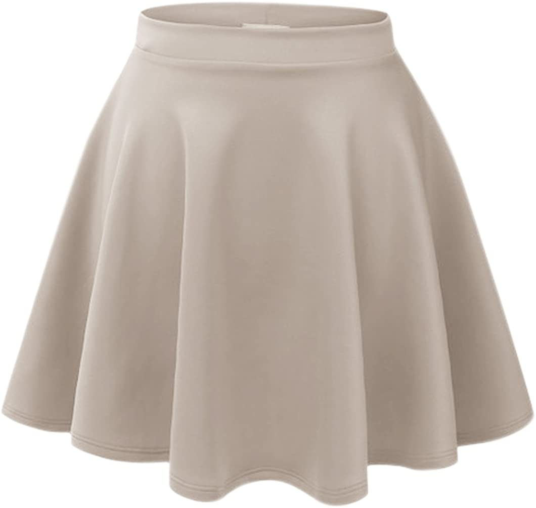 Peach Couture Popular Summer Flare Skater Mini Skirt with Banded Waist