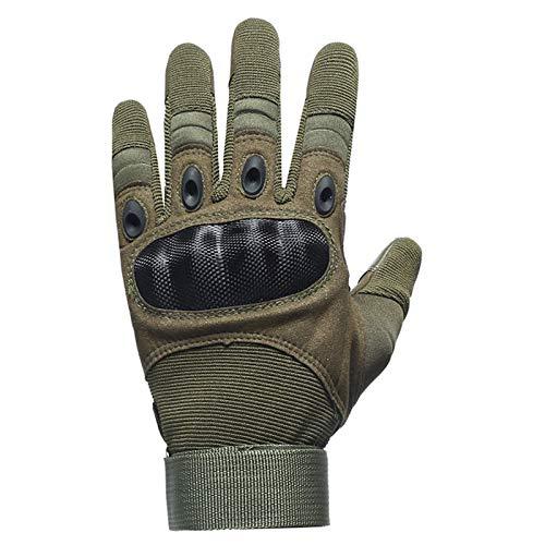 Luvas Elonglin para homens e mulheres, luvas de dedo inteiro e meio dedo luvas de tela sensível ao toque para motocicleta, ciclismo, caça, escalada, acampamento, verde G