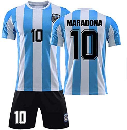 YTTde 1986 Argentina Maradona Uniforme De Fútbol para Niños Adultos, Impreso No. 10 Uniforme De Entrenamiento Clásico Retro Nuestro Décimo Héroe para Siempre del Fútbol, Regalos,16