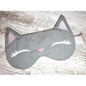 """Schlafmaske Schlafbrille""""Katze"""" grau"""