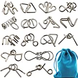 Set of 16 Metal Wire Puzzle with Solutions & Pouch - Brain Teaser IQ Test Mind Toys Unlock Interlock Game Chinese Ring Magic Trick Puzzles for Kids Adults Party Favordults Party Favor