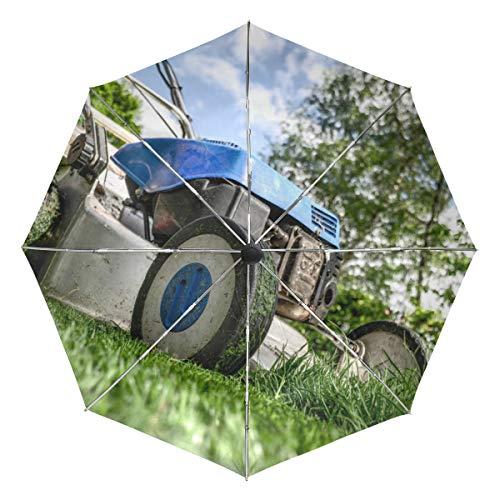 MONTOJ Blauer Rasenmäher Bild Sonne & Regen Reise Regenschirm UV-Schutz mit automatischem Öffnen Knopf