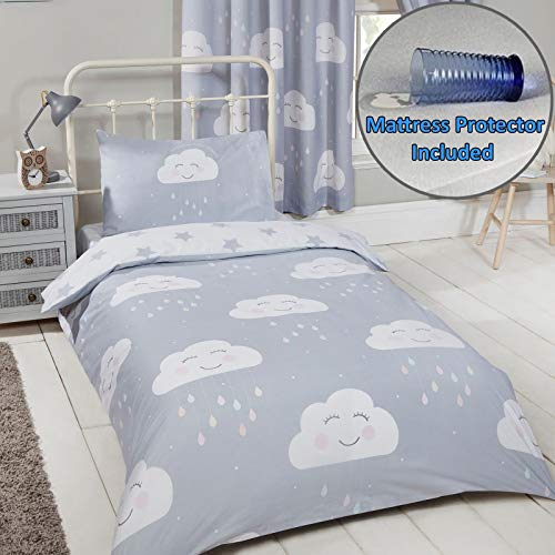 Happy Clouds Design Junior Duvet Cover Set + Waterproof Toddler Bed Mattress Cover