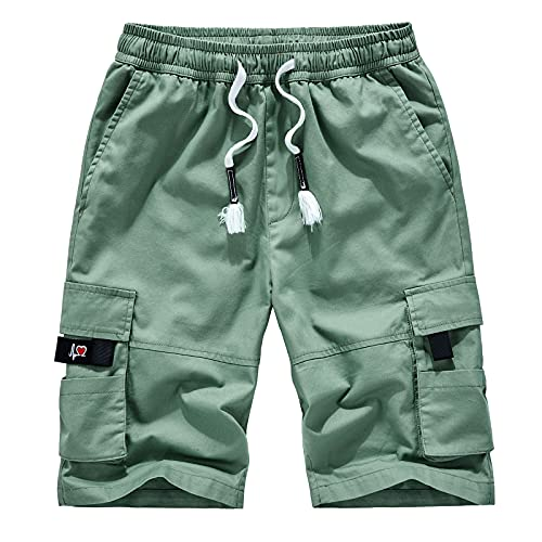 AIchenYW Men's Summer Shorts Casual Overalls Pure Cotton Loose Large Size Pive-Point Pants Multi-Pocket Workout Short Pants Mint Green