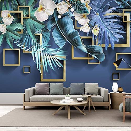 Msrahves Fotomural Vinilo de Pared Plantas hojas flores geometría. pared vinilos decorativos papel fotografico 3D Fondos de pantalla Fondo Pared Sala de estar Dormitorio TV Sofá Mural Papel tapiz