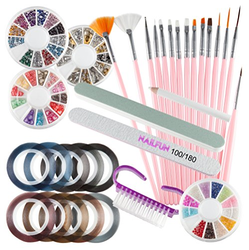 Nail Art Set – 33 pezzi – 15 pennelli + 4 rotelle nail art +...