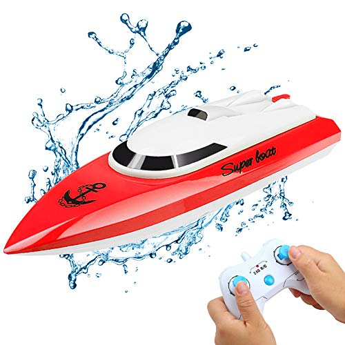 Yiomxhi RC Boat - Remote Control Boat for Kids, Mini Size Remote Control Toys 2.4GHz 20km/h for Pool or Lake-2 Battery-Red