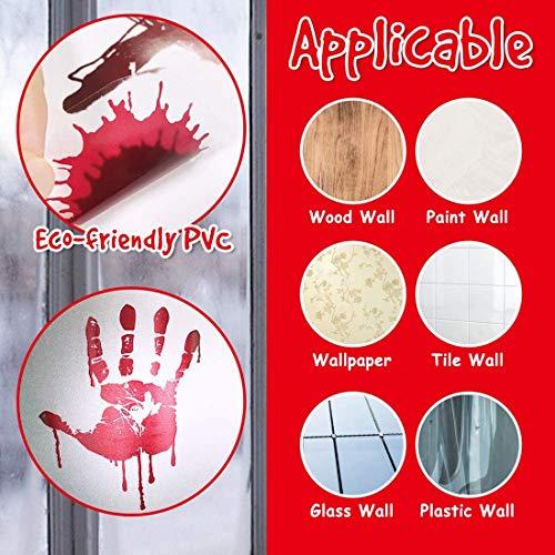 QIMMU Halloween Horror Vetrofanie,Decorazioni di Halloween con Impronte di Mani insanguinate, Horror Handprint Footprint Sticker per Atmosfera Spaventosa Festa di Halloween,7 Fogli