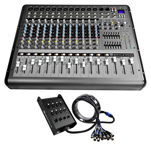 Rockville RPM1470 14 Channel 6000w Powered Mixer USB, Effects+12-Ch Snake Cable