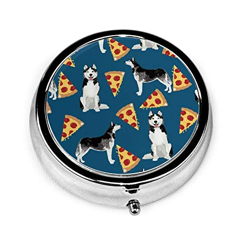 Caja de medicina redonda portátil Mini Pastillero de metal pequeño dispensador de píldoras para bolso de mano, regalo de viaje, diseño Husky Pizza Cute Dog Best Dogs