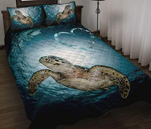 Wecco Turtle Heart Beautiful Quilt Twin Size - Unique 3D Design, Suitable for All Seasons with Mellow Cotton Material Comfortable and Luxurious.