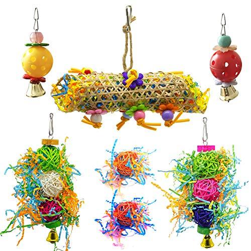 Allazone 7 Stück Vogel Kauspielzeug, Vogelspielzeug für Papageien, Vogelschaukel zum Aufhängen, Glocke und Fußfangball für Vögel Spielzeug Holz Sitzstangen Plattform, Schaukel, Sitzplatz