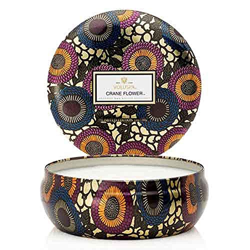 Voluspa Crane Flower Japonica Limited Edition Triple Wick Scented Candle in a Decorative Tin