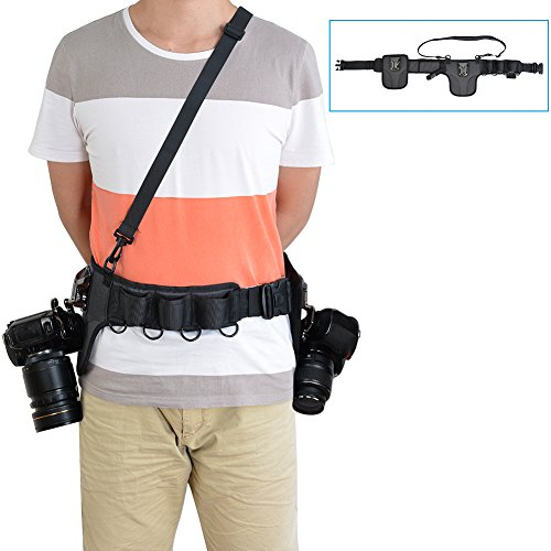 CADeN Universal Camera Waist Belt Waistband Strap Holder Holster with 2 Removable Metal Buckle Clip for Nikon Canon Sony Pentax Fujifilm Olympus Panasonic DSLR Cameras Lens Cases Tripod Accessories