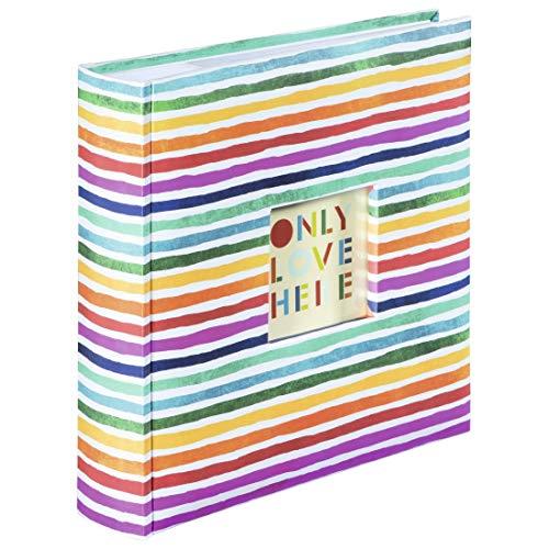 Hama Einsteckalbum Rainbow (Einsteck-Fotoalbum mit 100 Seiten, Album für 200 Fotos im Format 10x15 cm, farbenfrohes Fotobuch mit Fenster-Ausschnitt) bunt