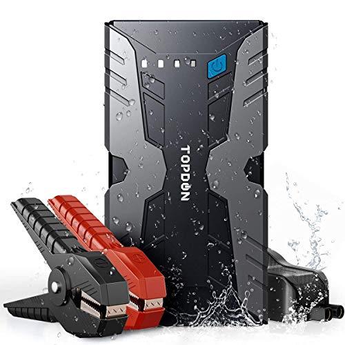 TOPDON Auto Starthilfe Powerbank, Volcano 1200A Peak 12V Auto Starthilfegerät (bis zu 6.5L, Gas 4.0L Diesel), wasserdichtes Notbatterie Booster Power Pack Anlasser mit LED Taschenlampe Dual USB Port