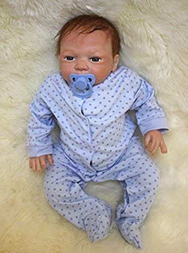 iCradle Silikon Weißhe 18 Zoll Reborn Babypuppe Look Echte Nette Lebensechte 45cm Baby Doll Toddler Junge