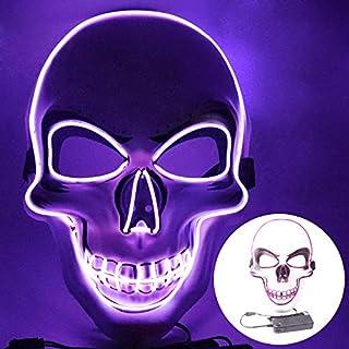 قناع مضيء بسلك من Staright Halloween Mask EL قناع Cosplay مخيف لحفلات الهالوين