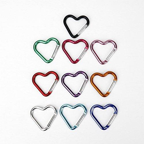 10 Pcs Heart Shaped Aluminum Alloy Keychain Clip Carabiner Snaphook Hook Holder Aluminum Heart Carabiner Hook Clip Key Holder Ten