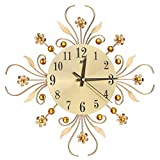 MeterMall Home Decor Gifts European Style Mute Iron Wall Hanging Pointer+Digital Flower Clock Home Decor for Living Room Gold