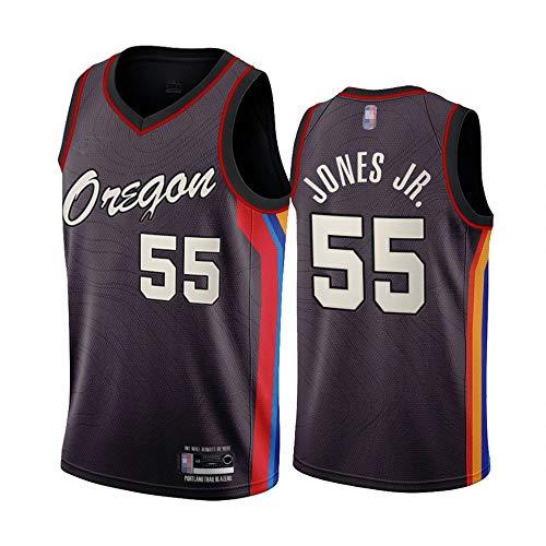 SHR-GCHAO 21 Temporada Nueva Edición Portland Trail Blazers # 55 Derek Jones JR NBA Basketball Jersey, Gimnasio Sin Mangas Sueltas Secado Rápido Sports Chalecos Camisa,Marrón,L(175~180cm)