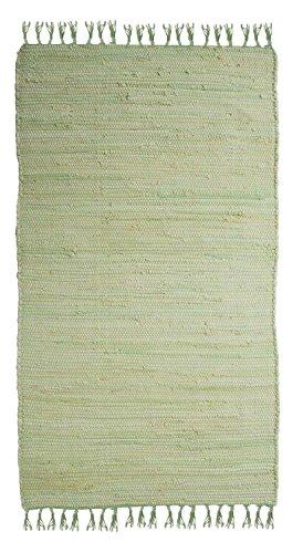 Home4You Flickenteppich Wohnzimmerteppich Handwebteppich | 80x250 cm | Mint | Baumwolle